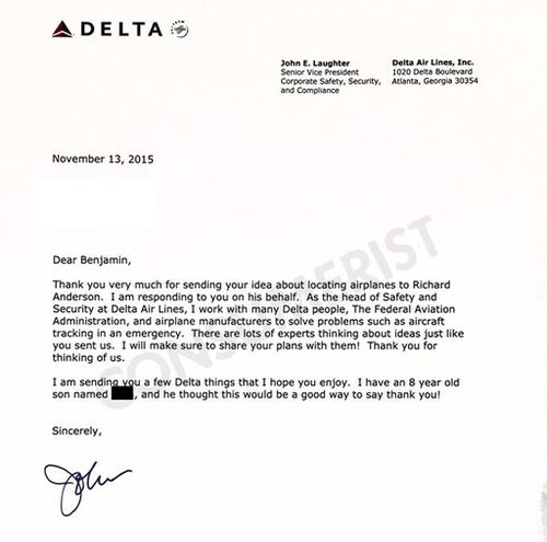 Delta's Senior Vice President of Safety, Security and Compliance responded to Ben's letter. (Consumerist)