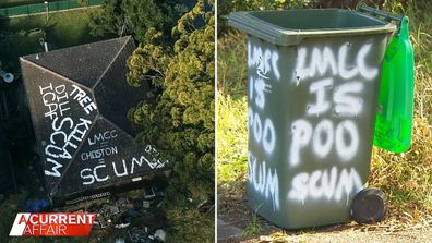 Residents at odds over neighbour's graffiti house.
