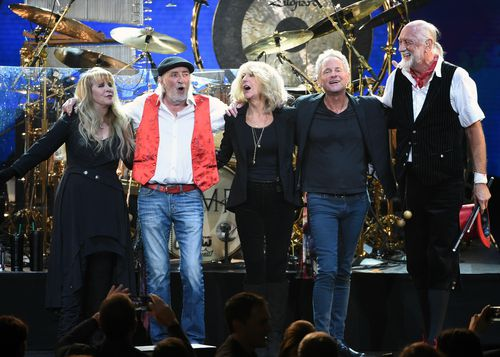 Fleetwood Mac band members in January this year.  From left: , from left, Stevie Nicks, John McVie, Christine McVie, Lindsey Buckingham and Mick Fleetwood (AAP)