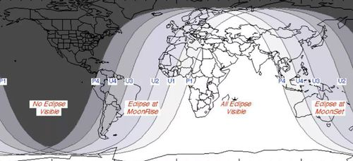Where the lunar eclipse of July 27 to July 28, 2018 will be visible. (Image: NASA).