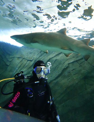 Diver with sharks at Shark Dive Xtreme at Sea Life Sydney Aquarium