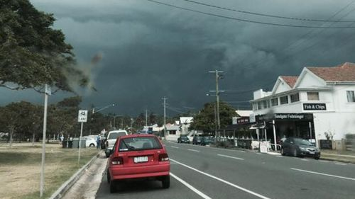 A post showing ominous clouds rolling through Queensland's south-east. (supplied)