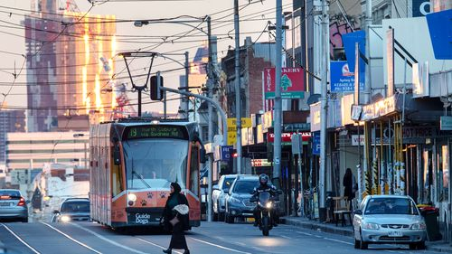 A tram headed for Coburg is seen on Sydney Road in Brunswick, Melbourne.