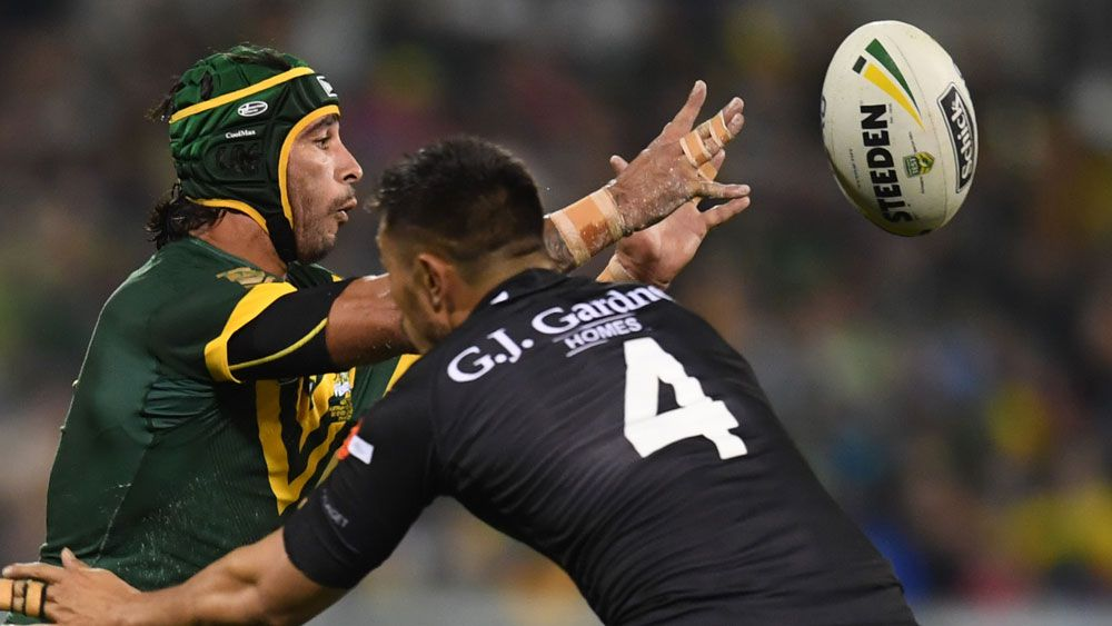 Johnathan Thurston hurt his shoulder in the Test against New Zealand. (AAP)