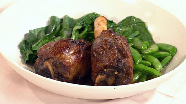 Lamb shanks in five-spice, taramind and ginger roast