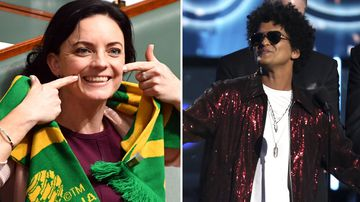 Emma Husar and Bruno Mars in concert