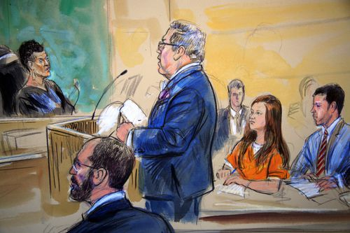 This courtroom sketch depicts Maria Butina, in orange suit, a 29-year-old gun-rights activist suspected of being a covert Russian agent, listening to her attorney Robert Driscoll, standing, as he speaks to Judge Deborah Robinson, left, during a hearing in federal court in Washington, Wednesday, July 18, 2018. Assistant U.S. Attorney Erik Kenerson, bottom left, and co-defense attorney's Alfred Carry, right, listen. Prosecutors say Butina was likely in contact with Kremlin operatives while living in the United States. And prosecutors also are accusing her of using sex and deception to forge influential connections. (Dana Verkouteren via AP)