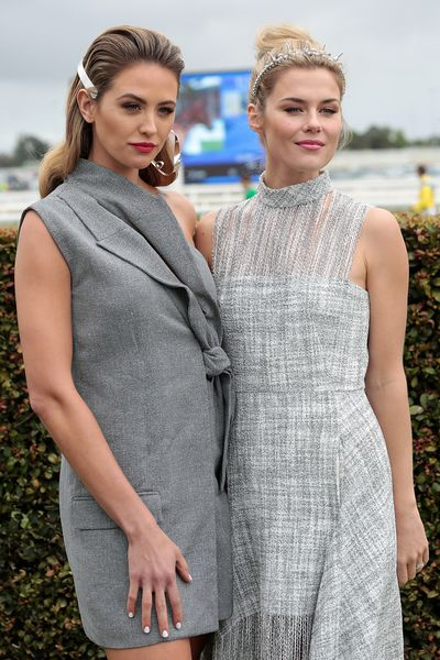 <p>Jesinta Franklin and Rachael Taylor were the shining stars of the show at the Caufield Cup in Melbourne on Sunday.</p> <p>Yes, it's a horse race and an important one, but we have little interest in the ponies. What we're all about is the fashion and when we use the word we mean the dresses, the shoes, the jewellery and every other single teeny, tiny detail.</p> <p>And there was much to delight in - particularly the outfits of these two shimmering, sparkly beauties. Daring and edgy, both outfits were perfect shades of grey.</p> <p>Scroll through for more details of the two women's winning outfits plus many more.</p> <p> </p>