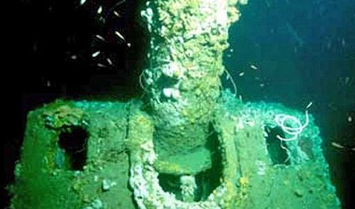 A gun turret of one of the sunken Dutch vessels.