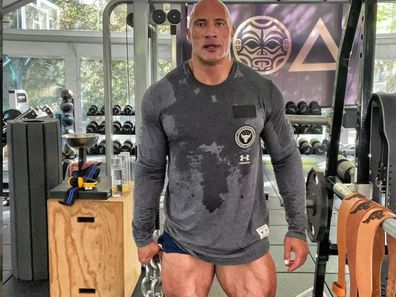 Dwayne Johnson in his barely-there shorts during a workout.