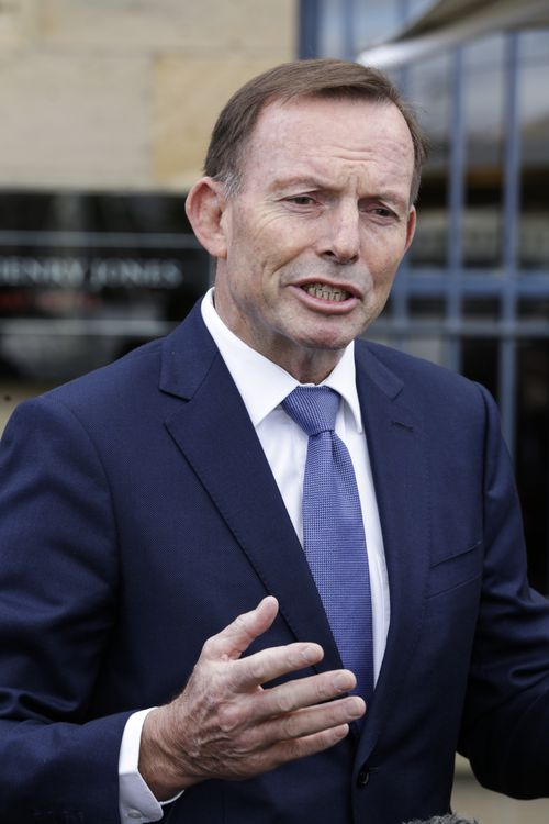 Tony Abbott speaking in Hobart the day after the attack. (AAP)