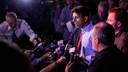 Louisiana Governor Bobby Jindal addresses the media after the shooting. (AAP)