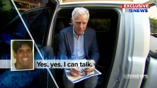 Damian Ryan speaks with Mr Santoro over the phone. Picture: 9NEWS