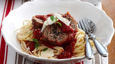 """Recipe: <a href=""""http://kitchen.nine.com.au/2016/05/16/10/22/meatloaf-with-spaghetti"""" target=""""_top"""">Meatloaf with spaghetti</a>"""