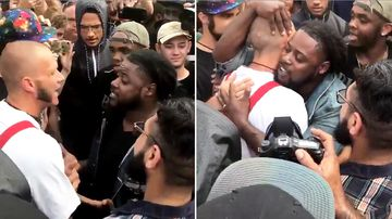 Black protester embraces neo-Nazi
