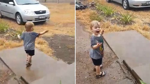 This little boy saw rain for the first time this morning in Scone, NSW.
