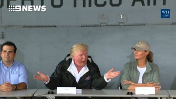 "9RAW: Trump says Puerto Rico has thrown US budget ""out of whack"""
