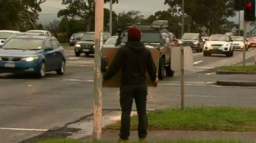 This is the second time Mr Bradbury has taken to the streets. (9NEWS)