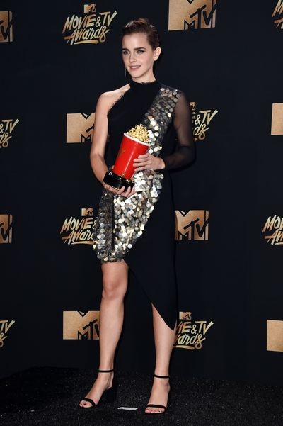 "Emma Watson in Australian label <a href=""https://style.nine.com.au/2016/05/18/15/25/kitx-resort-2017"" target=""_blank"" draggable=""false"">KitX</a> at the 2017 MTV Movie &amp; TV Awards in Los Angeles"