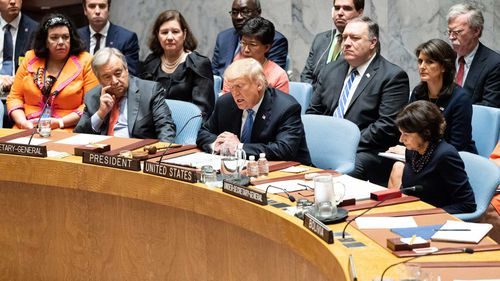 Donald Trump chairing the United Nations Security Council.