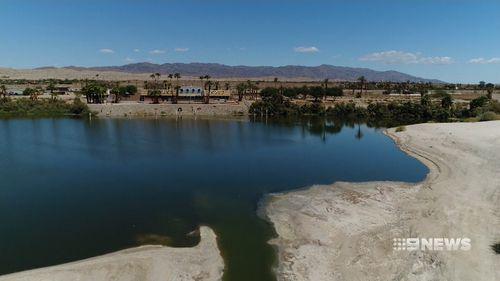 The Salton Sea, 90 metres below sea level, has been shrinking for decades