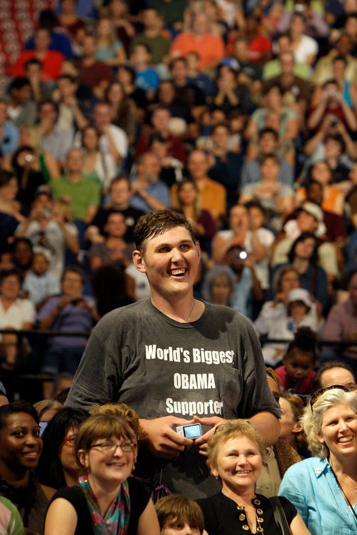 Igor Vovkovinskiy smiles at a political rally where he met former US President Barack Obama.