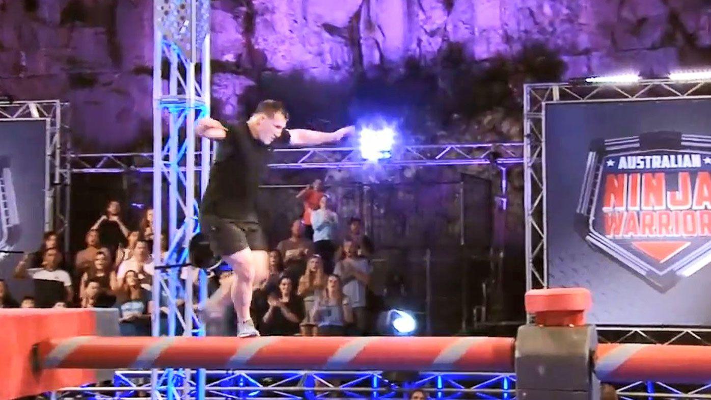 Paul Gallen crashes out of Ninja Warrior