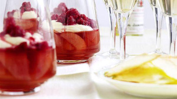 Nectarine jelly with elderflower cream and crushed raspberry ice