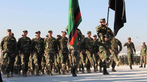 Afghan National Army soldiers training in Qargah. (9NEWS)