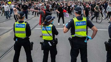 Police in Melbourne during lockdown protests.