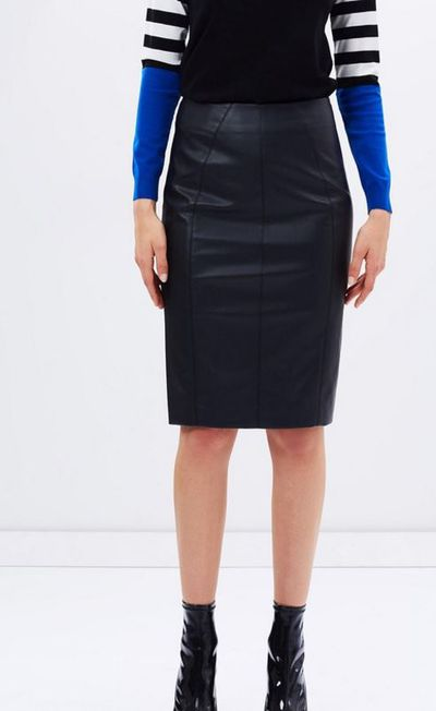 "Karen Millen faux leather skirt, $275 at <a href=""http://www.theiconic.com.au/faux-leather-pencil-skirt-402841.html"" target=""_blank"">The Iconic</a>"