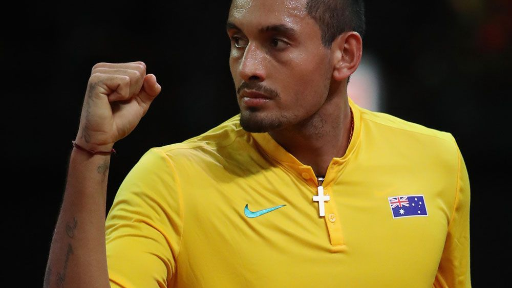 Nick Kyrgios scored a five-set win in the Davis Cup. (Getty Images)