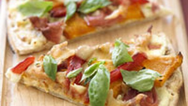 Ricotta, pumpkin and capsicum pizza