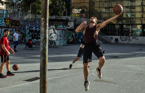People play basketball outdoors on May 02, 2020 in Barcelona, Spain.