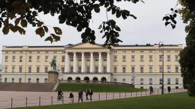 A view of Rikshospitalet where King Harald has been admitted, in Oslo, Friday, Sept. 25, 2020.