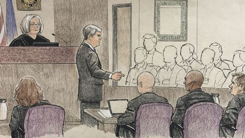This courtroom sketch depicts the opening argument by Hennepin County prosecutor Patrick Lofton.