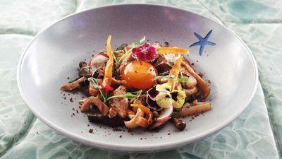 """Recipe: <a href=""""http://kitchen.nine.com.au/2016/09/28/11/27/jack-yoss-warm-mushroom-salad"""" target=""""_top"""">Jack Yoss' warm mushroom salad</a>"""