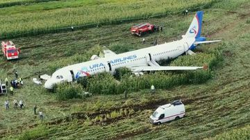 A passenger jet has crash-landed in a field near Moscow.