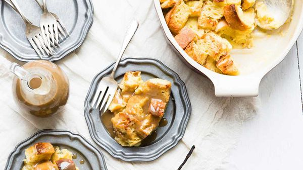 Bread and butter pudding with vanilla bean rum sauce recipe by Heilala Vanilla