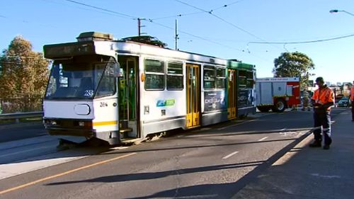 No one on the tram was injured. (9NEWS)
