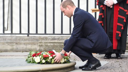 Prince William laid a wreath outside Westminster Abbey, (AAP)