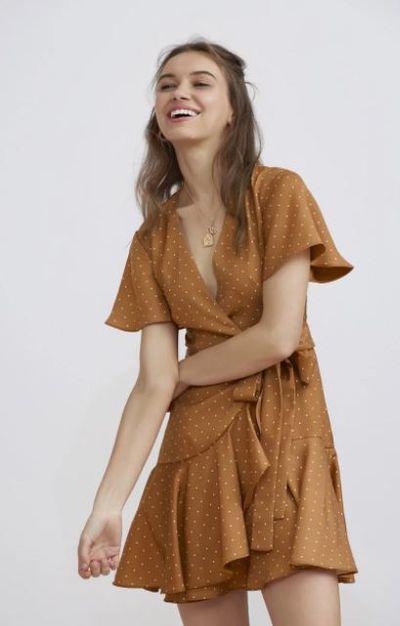 "<a href=""https://fashionbunker.com/vanish-mini-dress-tan-bandana"" target=""_blank"" draggable=""false"">Finders Keepers vanish mini dress</a>, $169.95"