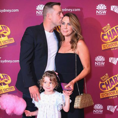 Stuart Webb, Kate Ritchie and daughter Mae Webb arrive at opening night of 'Charlie And The Chocolate Factory' at Capitol Theatre on January 11, 2019.