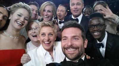 Ellen's epic celebrity selfie - someone in there is a photobomber (Twitter).