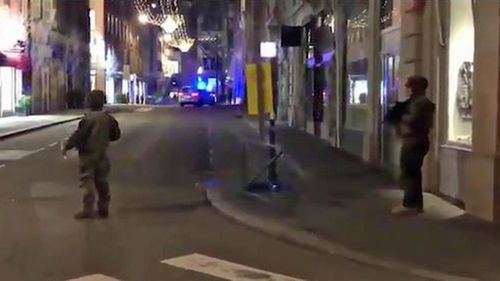 Armed police on the streets of Strasbourg following reports of a shooting.