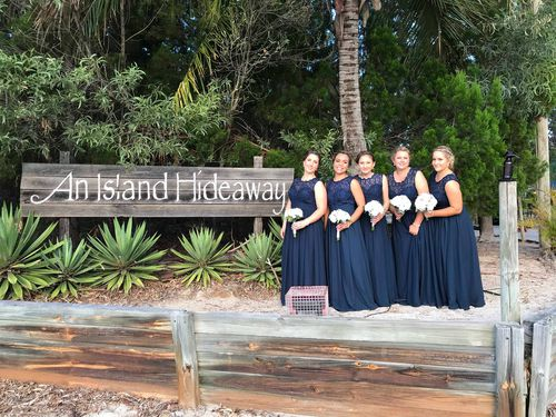 The bridesmaids were all smiles at the ceremony despite their horror hotel stay. (Supplied)