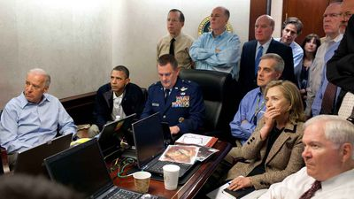 In one of the defining moments of Obama's presidency, advisors like Vice President Joe Biden, Secretary of State Hillary Clinton and Defence Secretary Robert Gates watch on as Seal Team Six conducted its highly risky raid on what they believed to be Osama Bin Laden's compound. If the mission was a failure, it could have ended his presidency. (AP)