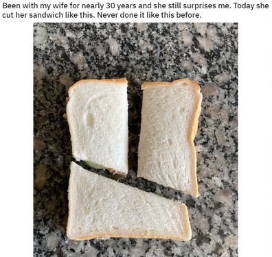 His wife's odd technique has been shared on Reddit.