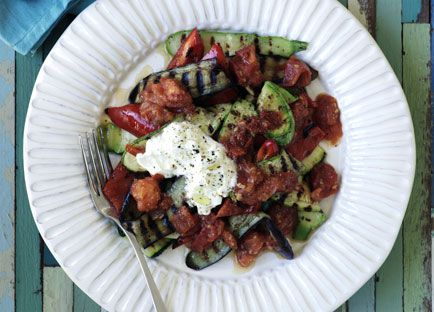 Barbecued eggplant and zucchini with spicy tomato sauce and yoghurt