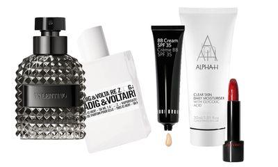 "<p><a href=""http://shop.davidjones.com.au/djs/en/davidjones/valentino-uomo-intense-eau-de-parfum-100ml"" target=""_blank"">Valentino Uomo Intense EDP, $145.</a></p> <p><a href=""https://www.priceline.com.au/fragrances/womens-fragrances/womens-fragrances/zadig-voltaire-this-is-her-edp-100-ml?xid=aff-clickid=zy6XSxUjhRhiyiGx5WwFQTAfUkkw7%3AxYZS6rQw0"" target=""_blank"">Zadig &amp; Voltaire This is HER, $120.</a></p> <p><a href=""https://www.bobbibrown.com.au/product/14007/21694/Skincare/Face-Moisturiser/BB-Cream-SPF-30/Free-Shipping-Returns"" target=""_blank"">Bobbi Brown BB Cream SPF 30+, $61.</a></p> <p><a href=""http://www.sephora.com.au/brands/alpha-h"" target=""_blank"">Alpha-H Clear Skin Daily Moisturiser, $40</a>.</p> <p><a href=""http://www.myer.com.au/shop/mystore/shiseido-perfect-rouge"" target=""_blank"">Shiseido Rouge Rouge Lipstick, $50.</a></p>"